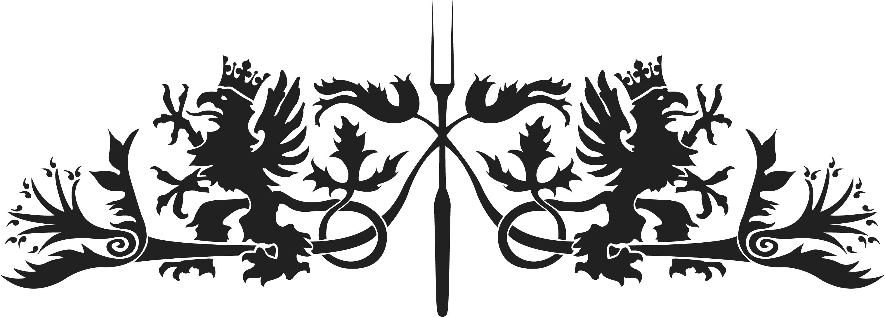 Bild: Vinjett, monogram till 'Marias Mirakulösa Döttrar' föreställande en uppåtvänd gaffel flankerad av två gripar och sirliga blommor