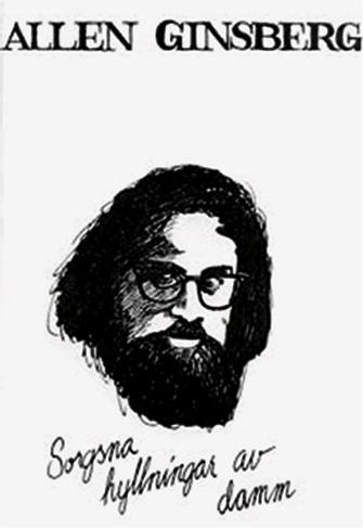 Bild av omslaget till Sorgsna hyllnigar av damm med teckning av Allen Ginsberg