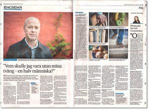 """BILD: Ett uppslag ut SvD 190901 med en artikel """"Vem skulle jag vara utan mina tvång – en halv människa?"""" om författaren Niklas Schiöler med att porträtt av honom"""