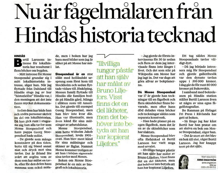 BILD: klipp från Anne Engströms artikel 'Nu är fågelmålaren från Hindås historia tecknad' – länk till Borås Tidning