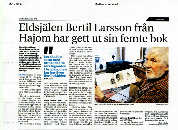 BILD: klipp från Marie Selenius artikel 'Eldsjälen Bertil Larsson från Hajom har gett ut sin femte bok – länk till Markbladet
