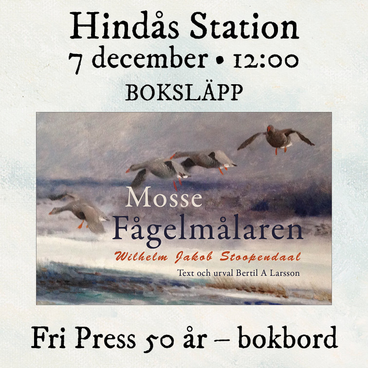 Bild med länk till evenemang vid Hindås station 7 december, bokomslaget visar fåglar över vattnet